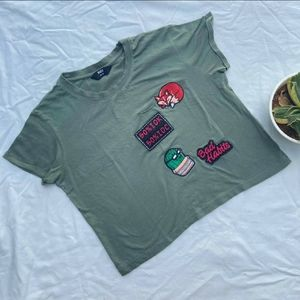 Olive Green Patched Crop Top